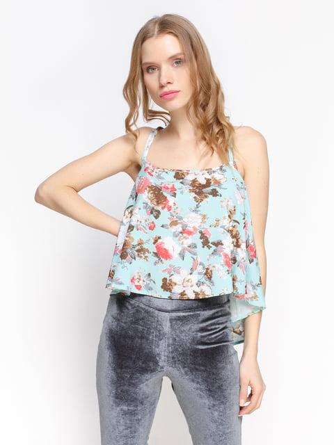 Топ м'ятного кольору з квітковим принтом Atelier private 2456712