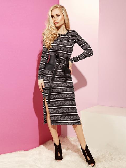 Платье серое в полоску Gepur 4860173