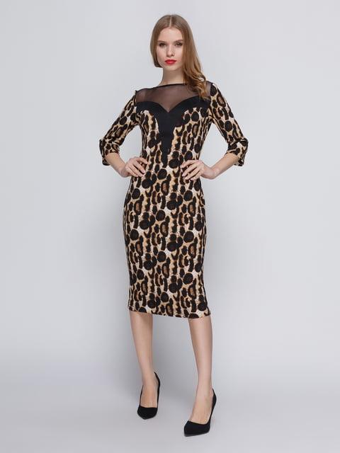 Сукня леопардового кольору з кокеткою My Monday 3486509