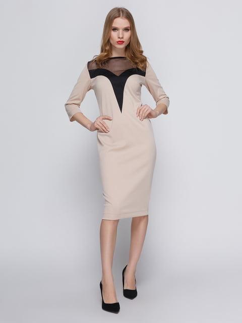 Сукня бежева з кокеткою My Monday 3486508
