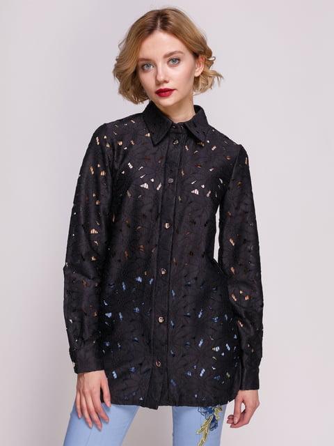 Рубашка черная с перфорацией My Monday 3463199