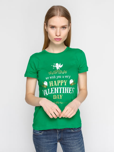 Футболка зелена з принтом PrintOff 4863585