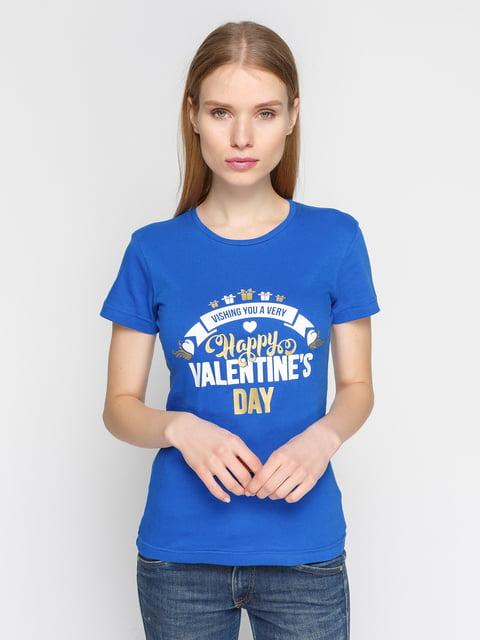 Футболка синя з принтом PrintOff 4863594