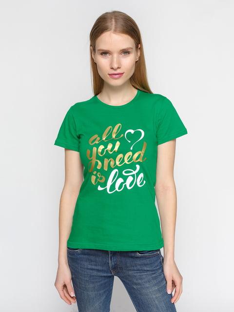 Футболка зелена з принтом PrintOff 4863582