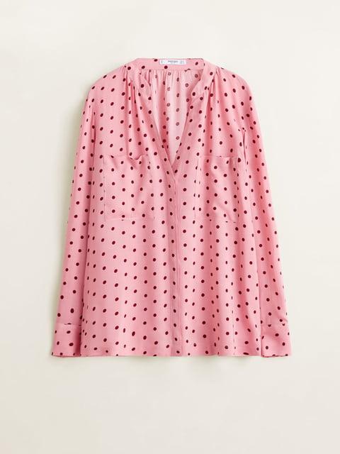 Рубашка розовая в горошек Mango 4861119