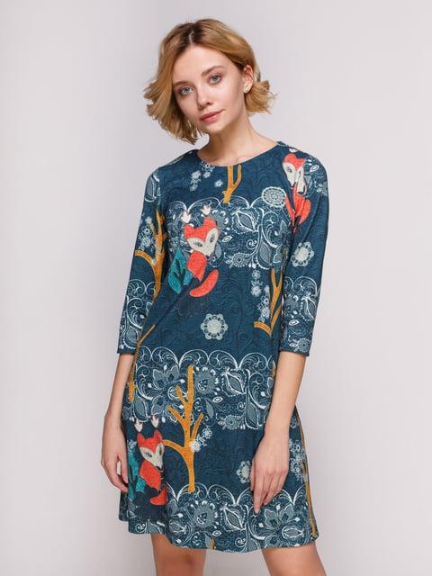Сукня синя в принт Jet 4867564
