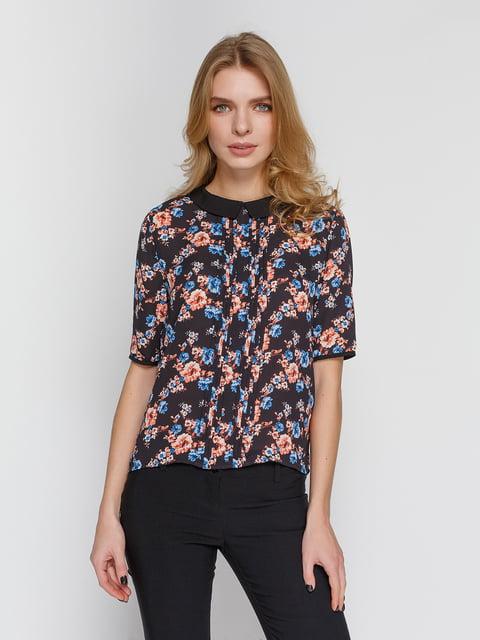 Блуза чорна в квітковий принт Pimkie 4629007