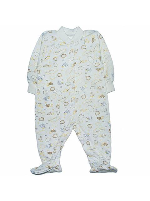 Человечек молочного цвета принтованный с начесом Малыш 4879850