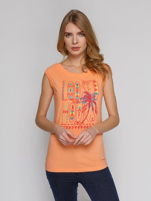 Футболка персикового кольору з принтом Arber 4855143