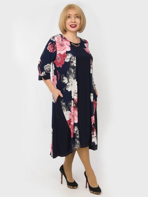 Платье темно-синее с цветочным принтом LibeAmore 4888899