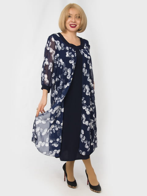 Платье синее с цветочным принтом LibeAmore 4888909