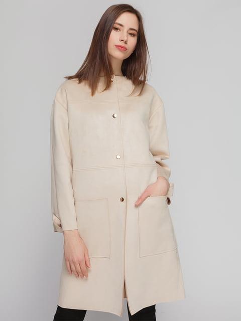 Пальто кремового цвета Zara 4874351