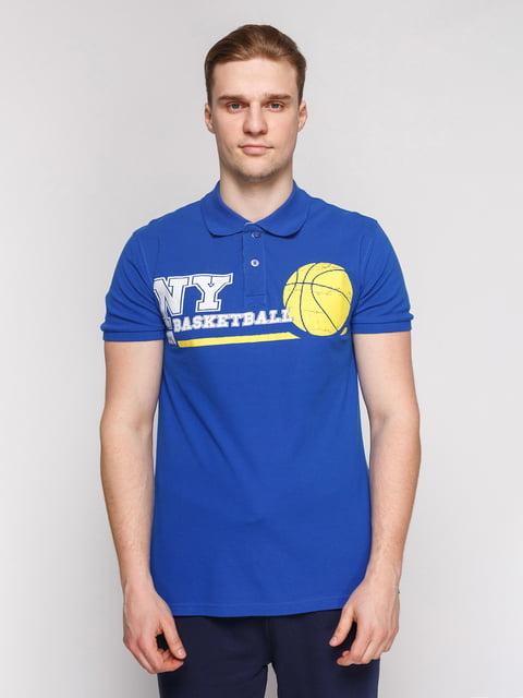 Футболка-поло синя з принтом Arber 4854943