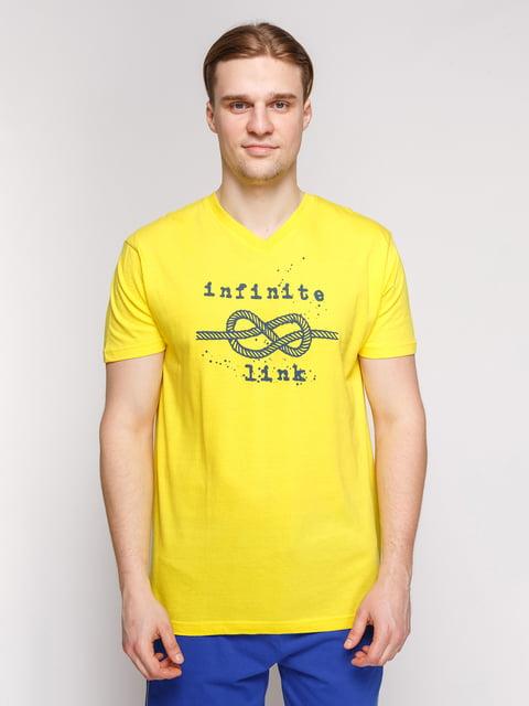Футболка жовта з принтом Arber 4602088