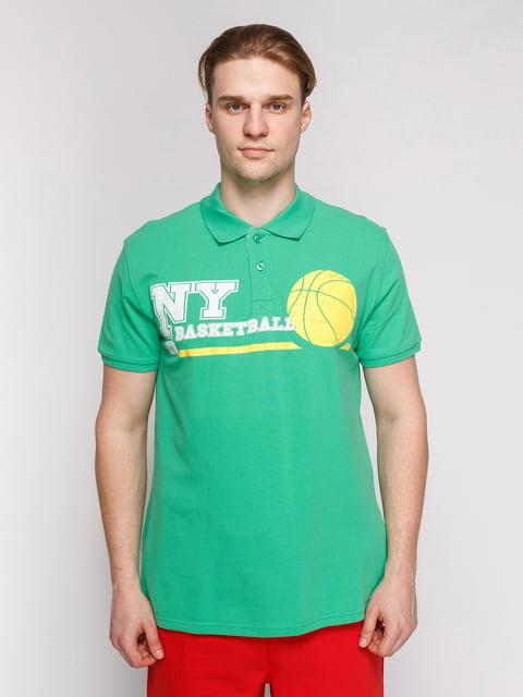 Футболка-поло світло-зелена з принтом Arber 4854945