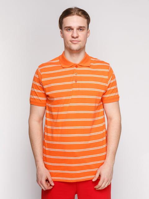 Футболка-поло помаранчева в смужку Arber 4854918