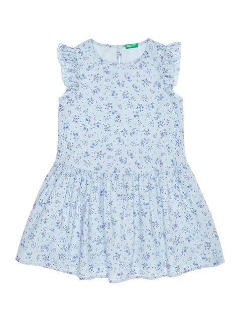 Платье голубое с цветочным принтом Benetton 4864672