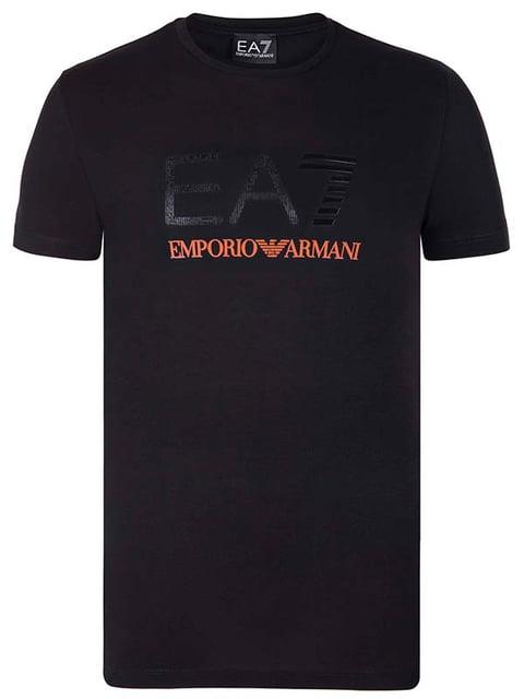 Футболка черная с принтом Armani 4858538