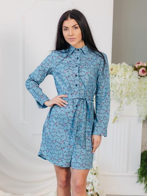 Платье голубое в цветочный принт VSV 4907880