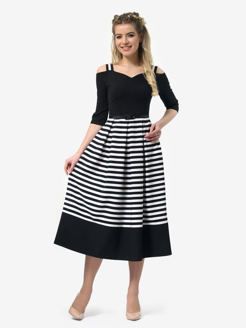 Платье черное в полоску LILA KASS 4913329
