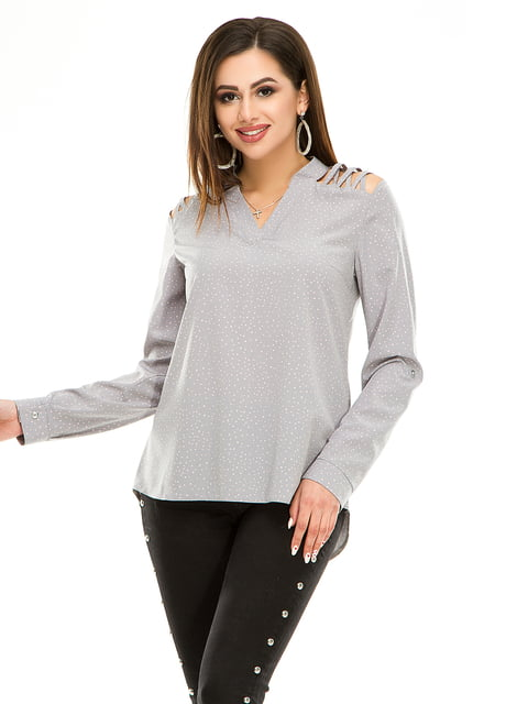 Блуза серая в горошек Exclusive. 4917435