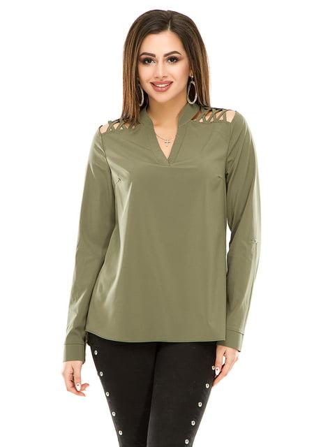 Блуза оливкового кольору Exclusive. 4917438