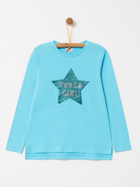 Лонгслив голубой с декором Oviesse 4876574