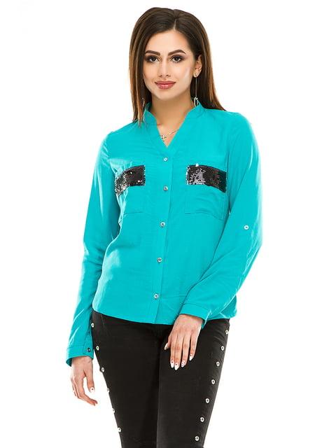 Сорочка кольору морської хвилі Exclusive. 4920214