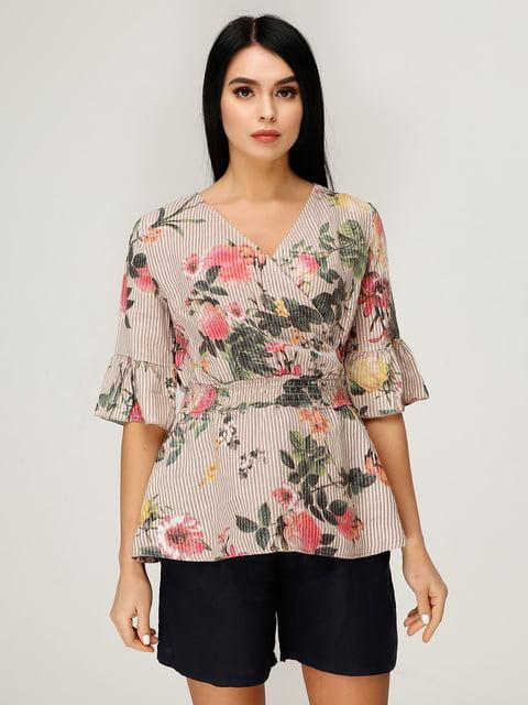 Блуза в цветочный принт и полоску Favoritti 4949854