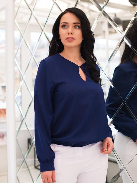 Блуза темно-синя ELFBERG plus size 4613924