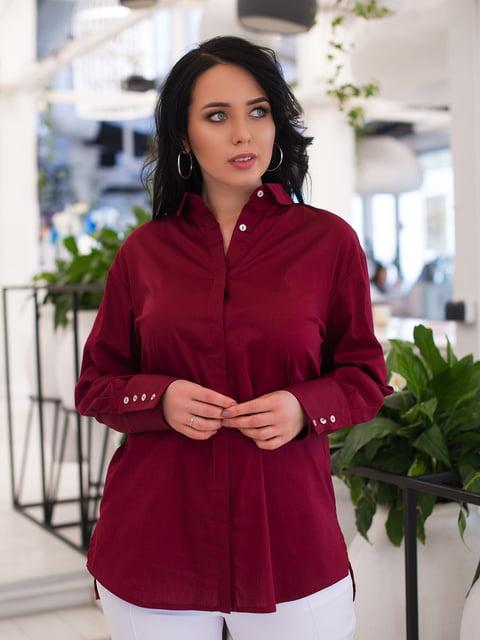 Рубашка бордовая ELFBERG plus size 4950261
