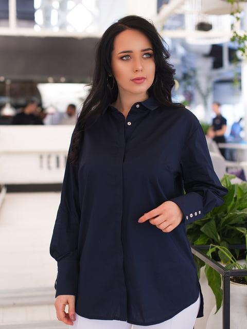 Рубашка темно-синяя ELFBERG plus size 4950263