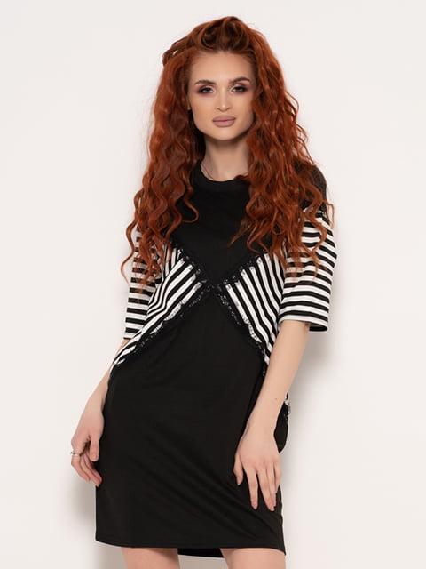 Сукня чорна зі смужками Magnet 4950801