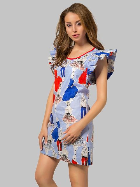 Платье сиреневое в принт Azuri 4956036