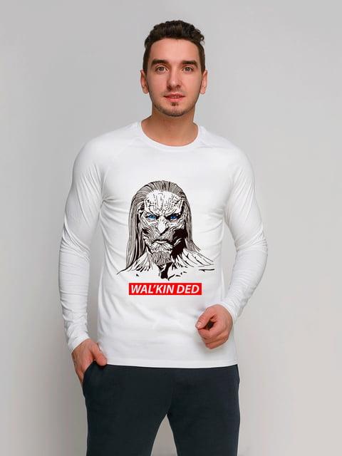 Лонгслив белый с принтом Manatki 4962371