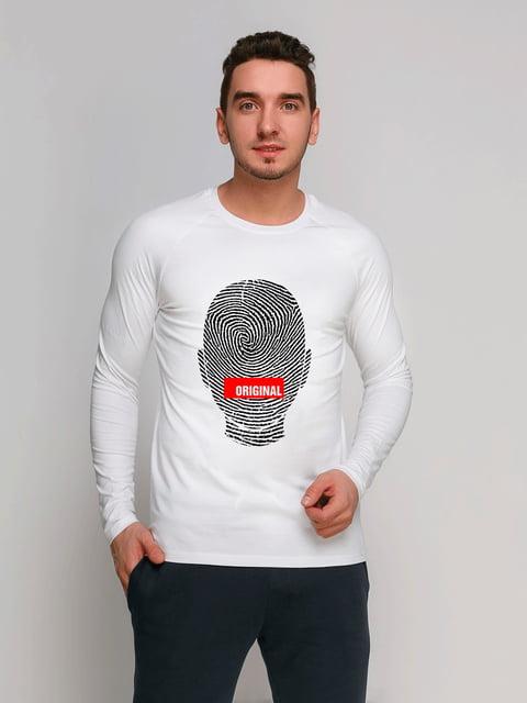 Лонгслив белый с принтом Manatki 4962379