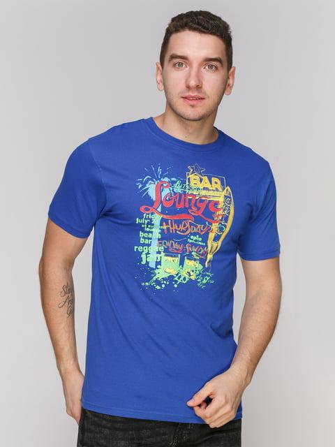 Футболка синя з принтом Arber 4854929