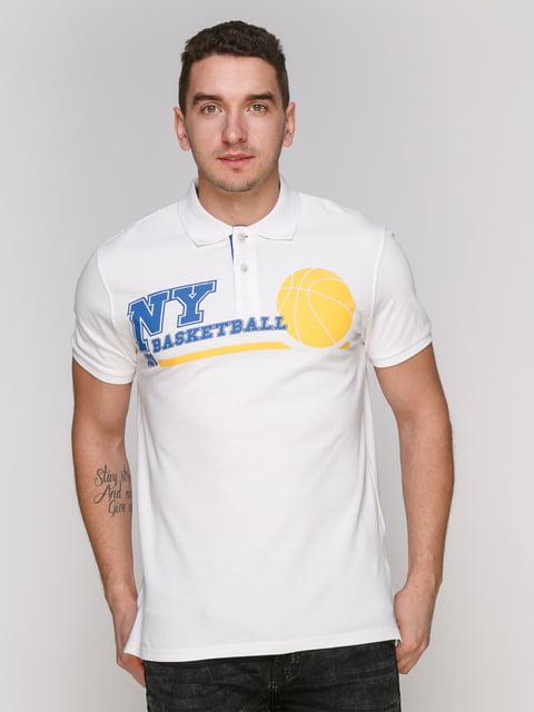 Футболка-поло біла з принтом Arber 4854942