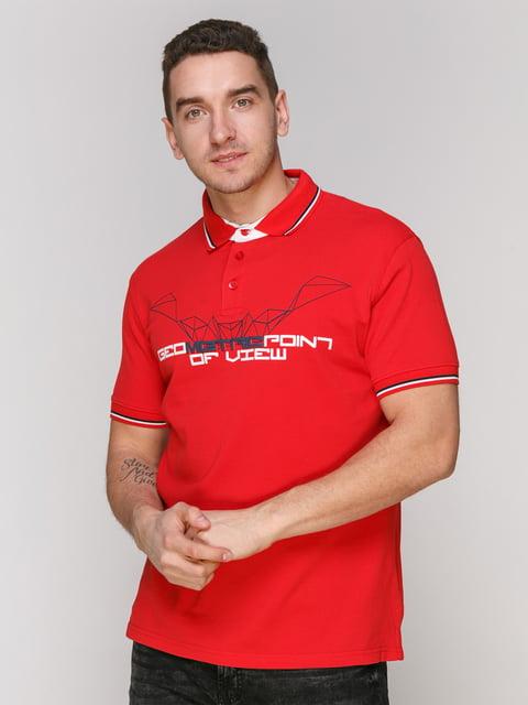 Футболка-поло червона з принтом Arber 4854987