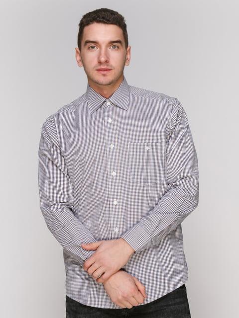 Рубашка в коричнево-синюю клетку Arber 4855382
