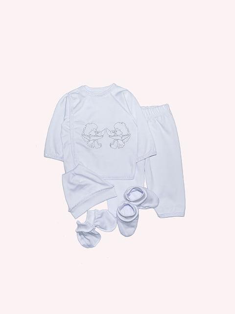 Комплект: сорочечка, штани, шапочка, царапки і пінетки Малыш 4971587
