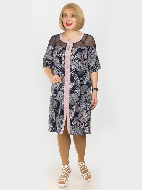 Платье сине-розовое в принт LibeAmore 4975278
