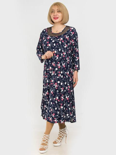 Платье синее в цветочный принт LibeAmore 4975323