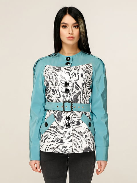 Куртка бірюзова з принтом Favoritti 4979828