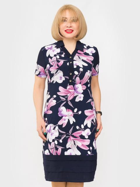 Платье синее в цветочный принт LibeAmore 5027224
