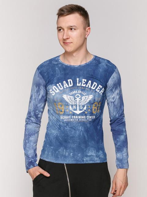 Лонгслів блакитний з принтом STEEL-34 4921536