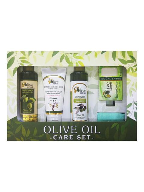 Набор для тела Olive Senses: шампунь, гель для душа, крем для лица, рук и тела, мыло Selesta 4986481