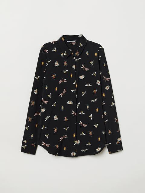 Рубашка черная в принт H&M 5046965