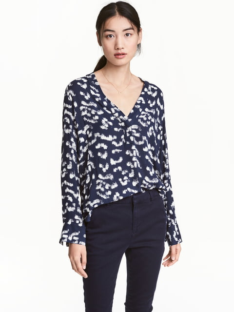 Блуза синяя в принт H&M 5045186