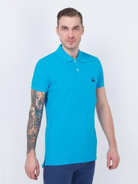 Футболка-поло голубая Benetton 4894867